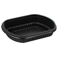 Disposable container MEALBOX, must, PP, 714 ml, 207x170x38 mm, 63 tk
