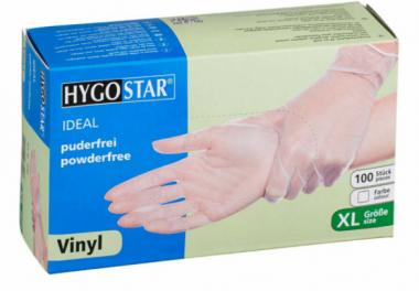 "HYGOSTR Vinyl gloves ""Ideal"" | powder-free 100 pcs Size XL white"