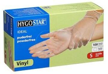 Vinyl gloves Hygostar Ideal Light powder-free  100ps white, S size