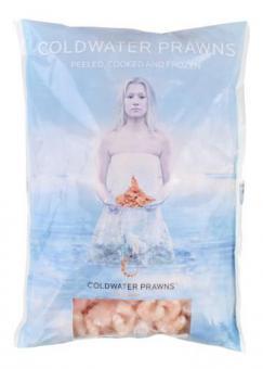 Frozen prawns, cooked, peeled, no tails, 200/300, 1kg, 20% glaze
