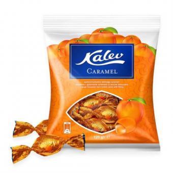 KALEV Hard boiled caramel candy orange flavoured with filling 120g