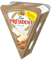 White mould cheese PRESIDENT Brie with nuts, 32%, 125g